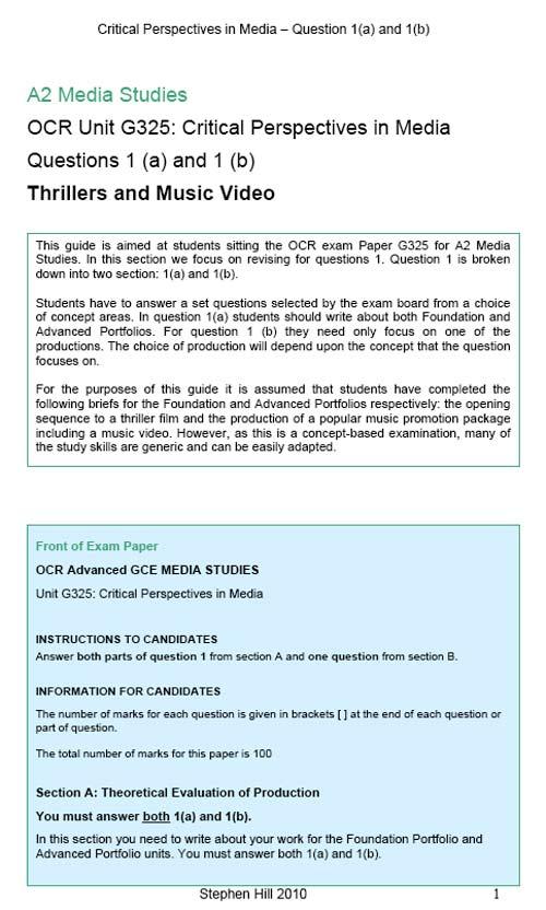 ocr as media studies coursework